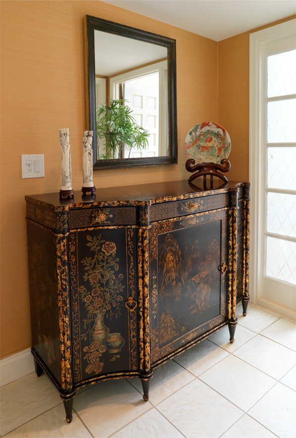 Asian Antique chest creates a dramatic entry