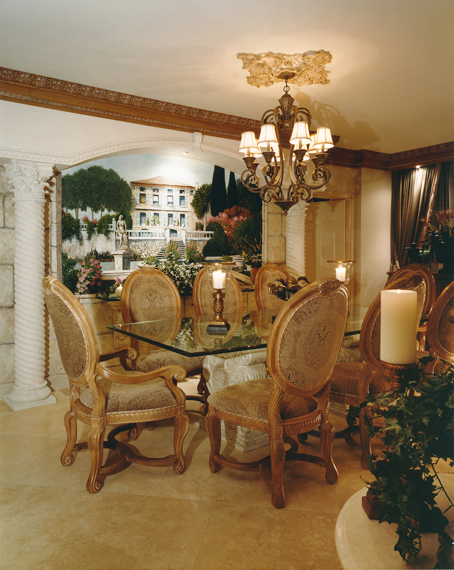 Dining Room with marble columns and custom mural vista