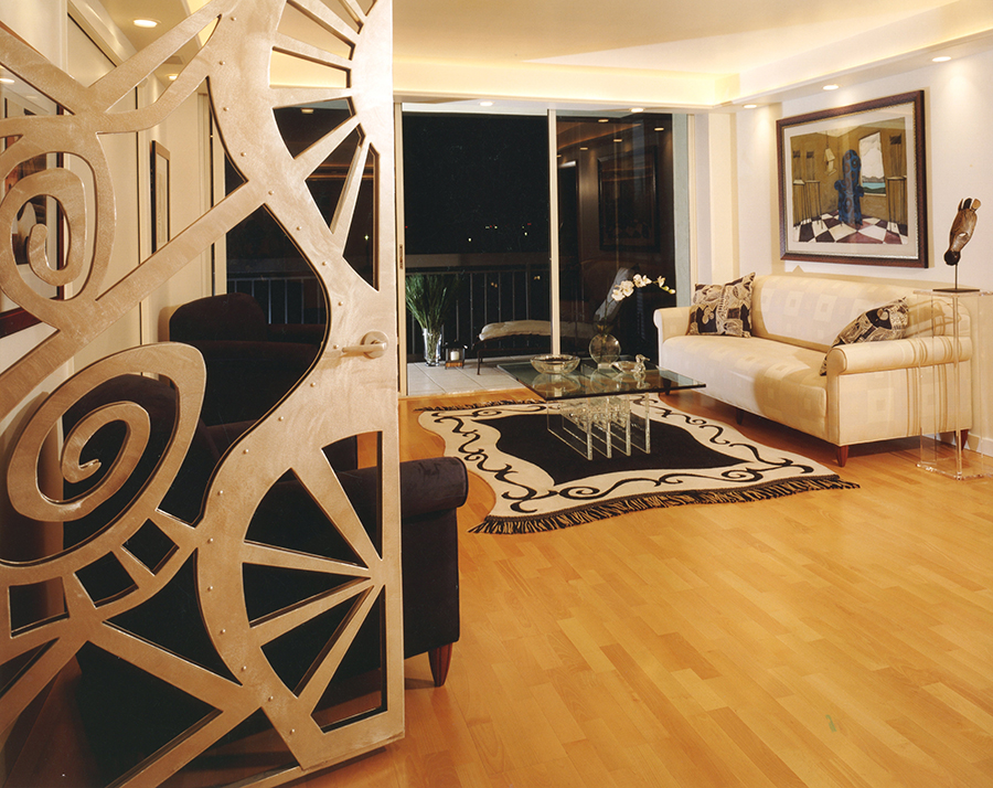 Abstract art custom stainless steel gate door opens into a contemporary Living Room